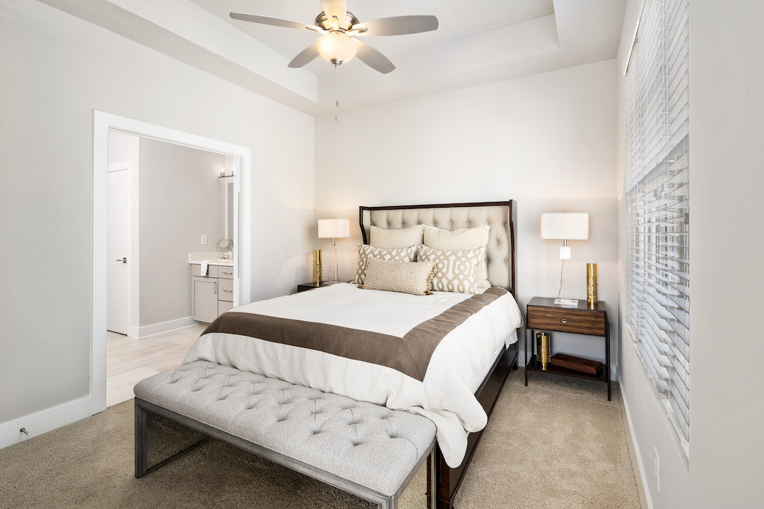 Master bedroom of model townhouse at Cosmopolitan
