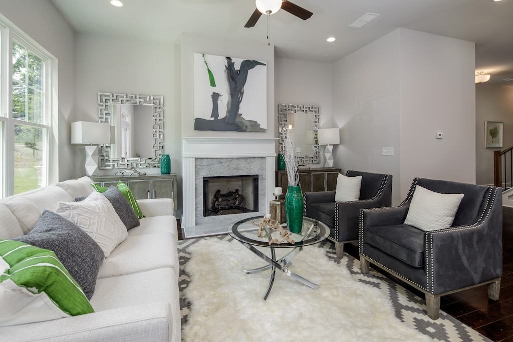 Fireside living room in townhomes of Parc at Chastain