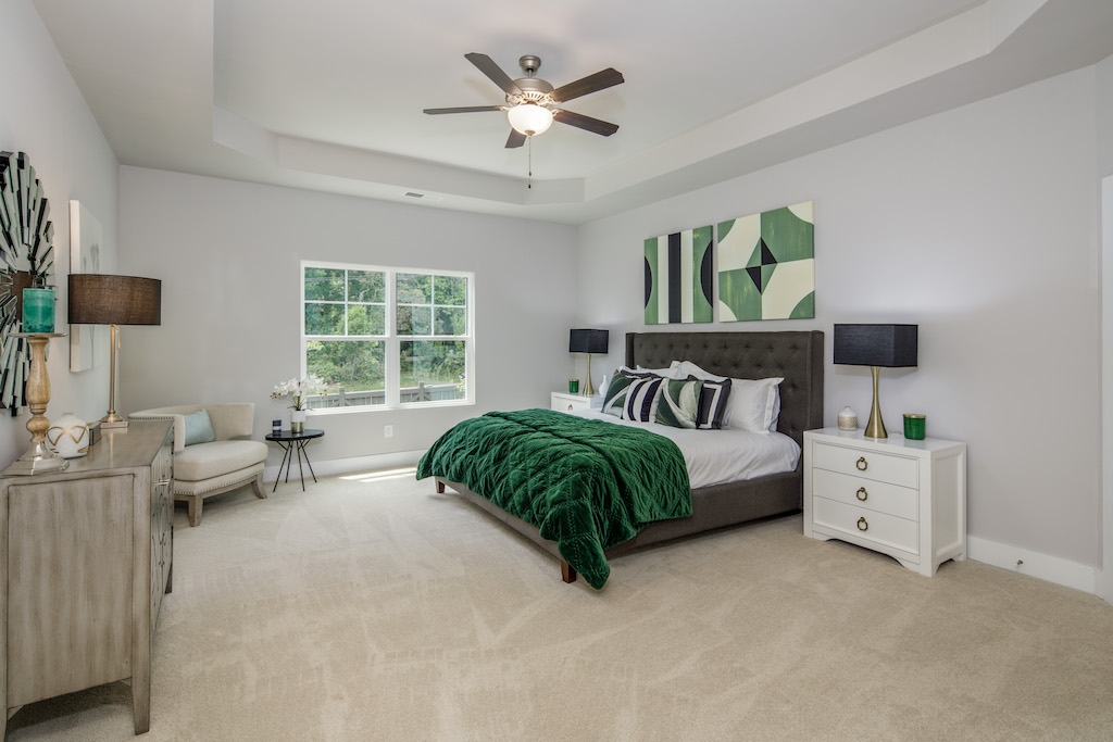 Serene master suite of townhouse in Parc at Chastain